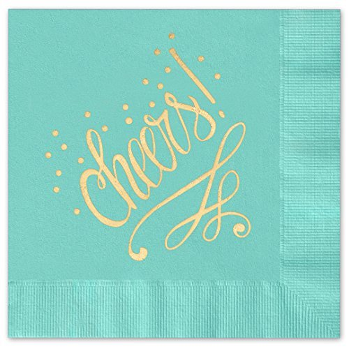 Cheers to You! Beverage Cocktail Napkins - Set of 25 aqua paper napkins with gold foil (54063A) by Canopy Street