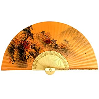 Hand Painted Folding Fall Scene Painting on Yellow Soil Dyed Korean Mulberry Rice Paper Bamboo Art Handheld Decorative Fan
