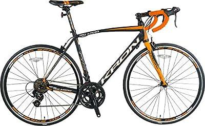 KRON RC-1000 Sehr leichtes Aluminium Rennrad 28 Zoll, 14 Gang Shimano Kettenschaltung | 21 Zoll (54cm) Rahmen Racebike Erwachsenen- und Jugendfahrrad | Schwarz Orange
