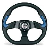 Simoni Racing X2330PUN/PA Volante Sportivo X2 Poly Pelle Universale, Nero e azzurro