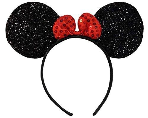 Kostüm Plus Shirt Erwachsene Für - (Glitter Ears) Glitzernden Schimmernde Schwarz Rot Bow Minnie Mouse Ohren Disney Kostümfest Ohr-Stirnband