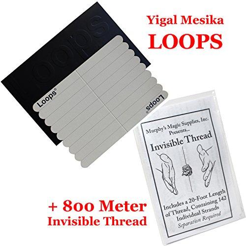 Loops New Generation by Yigal Mesika, Elastische Fadenschlaufen für Schwebe Zaubertricks mit dt. Anleitung, Bonus: 800 Meter Invisible Thread (Nicht elastisch)