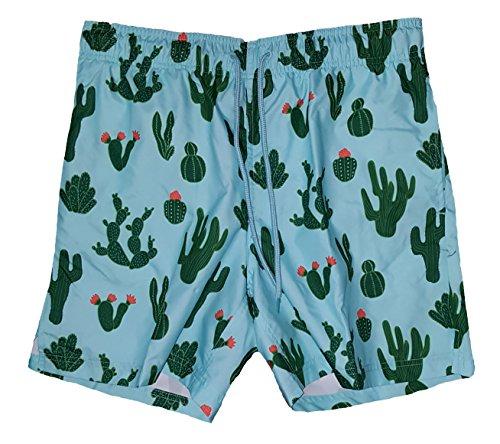 George Badehose Kaktus-Aufdruck über dem Knie, 15,2 cm, Blaugrün - Blau - X-Large