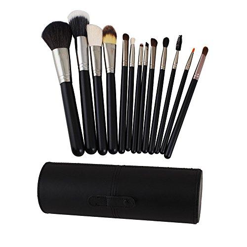 VALUE MAKERS 13pcs Pinceaux de Maquillage - Maquillage Brush Set - Kit pinceaux de maquillage - Maquillage Brush Set - Maquillage Pinceaux - Pinceau fond de teint - pinceaux de maquillage Kit - Chèvre Brosses à cheveux Set - Brush Set avec vérin Pinceaux (Noir)