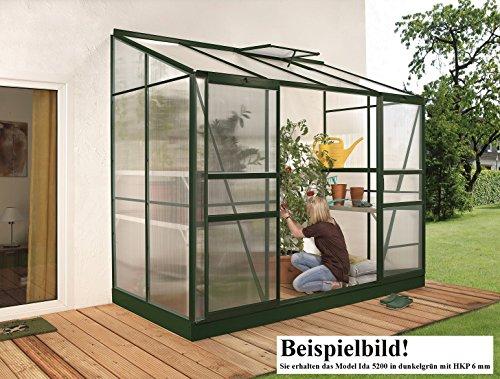 Gartenwelt Riegelsberger Anlehngewächshaus Ida – Ausführung: 5200 HKP 6 mm dunkelgrün, Fläche: ca. 5,2 m², mit 1 Dachfenster, Sockelmaß: 1,90 x 2,54 m