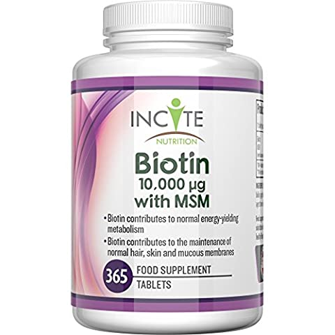 Biotin + MSM Hair Growth Vitamins 10000MCG Biotin + 250mg MSM 365 Tablets (1 YEARS SUPPLY!) MONEY BACK GUARANTEE UK Made BUY 2 GET FREE UK DELIVERY 6 Month + Supply Best Supplements for Hair Loss Best Beauty Treatment for Men and Women - Glucosamine - Incite Nutrition Biotin B7 + methyl sulfonyl methane Complex Better Than Shampoo Not 5000MCG Capsules Benefits Healthy Hair, Nail Growth and Skin UK Manufactured