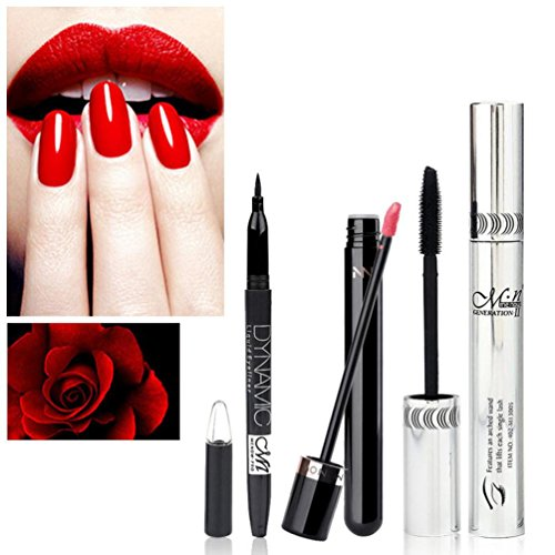 4D Mascara Eyeliner Pen Lipgloss Set Schwarz Natürliche 1 Cent Artikel Lange Wimperntusche...