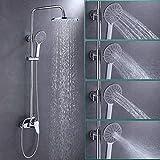 OUPAN Upgrade 9 Zoll Duschsystem Messing verchromt Regendusche Regenbrause Rainshower Duschpaneel 5 jährige Garantie, Duschset inkl. Überkopfbrause + Handbrause Funktion