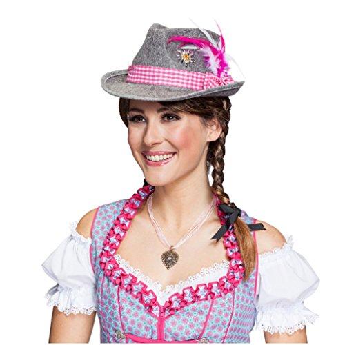 Bayernhut Moni Trachtenhut Oktoberfest Dirndl Hut Wiesn (Pink) - 3