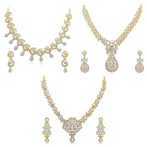 Sukkhi Golden Brass Choker Necklace Set Combo for Women
