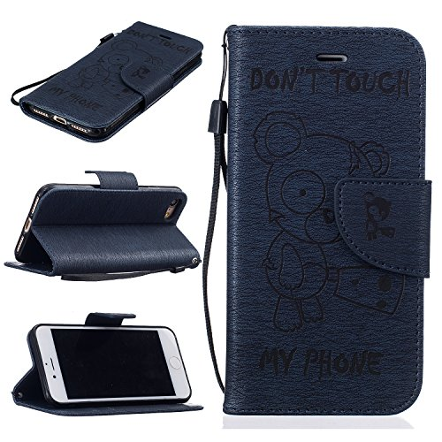 BONROY® Book Style PU Cuir Portefeuille Etui pour iPhone 5 5S 5SE PU Cuir Flip Magnétique Portefeuille Etui Housse de Protection Coque Étui Case Cover Portefeuille Fentes pour Cartes Cover Ultra Slim  darkblue