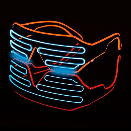 AOLVO Gafas de Sol Alambre, luz LED, Gafas de Sol Brillantes, Gafas de Sol, Gafas de Sol con luz de neón, 4 Modos para Halloween, Navidad, cumpleaños, Fiesta, para niños y Adultos