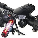 AFCITY Bike Light Night Riding Mountain USB Lade Fahrrad Frontlampe - LED Fahrradbeleuchtung 1 Frontscheinwerfer und 1 Rücklichter