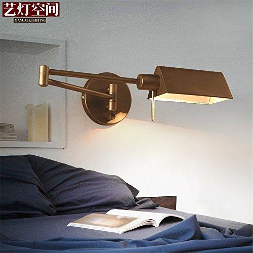 SQIAO moderne LED Wandleuchte Wandlampen Schlafzimmer Bett Eisen fach ausziehbare Wandleuchte, Silber