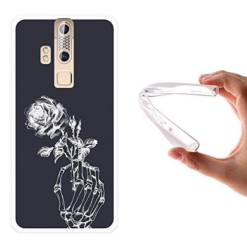 ZTE Axon Elite Hülle, WoowCase Handyhülle Silikon für [ ZTE Axon Elite ] Skeletthand und Rose Handytasche Handy Cover Case Schutzhülle Flexible TPU - Transparent