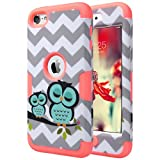 iPod Touch 6 case, ULAK iPod Touch 5 Case [Colorful Series] Luxury Hybrid 3 Layer Silicone Shell Shockproof Hard Case Cover for Apple iPod Touch 5th 6th Gen (Water Red Owl)