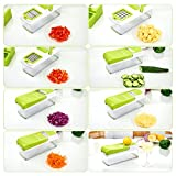from Duomishu Mandoline 10 in 1 Food Cutter Slicer and shredder - Slices and Shreds Fruits and Vegetables Chopper, Food Container, Safety Food Holder, All-in-One Vegetable Cutter& Julienne Slicer Vegetable Slicer, Fruit and Cheese Cutter & Grater for Slicing, Dicing, Grating, Chopping, Cutting and Peeling - By Duomishu