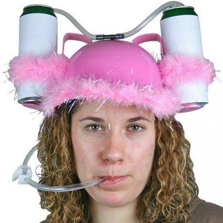 Casco para beber - Gorro plástico rosa con plumas, para dos bebidas, con pajitas