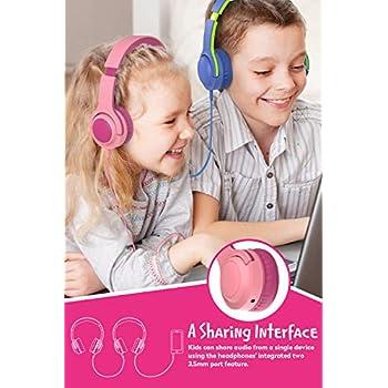PICUN Q2 Cuffie per bambini cablate pieghevoli con limitazione del volume e condivisione Jack da 3,5 mm per ragazzi - Rosa pink