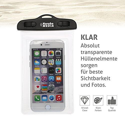 Naruba Media Waterproof | wasserdichte Handyhülle für alle Smartphones bis zu 6 Zoll |19,5 x 11,5 x 1,2 cm| inklusive Gurt und Schnellverschluss |Blau Transparent