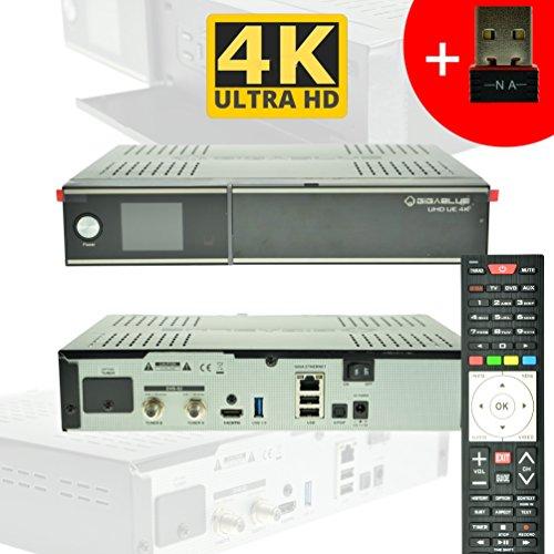 GigaBlue Ultra UHD UE 4K HYBRID LINUX Enigma2 HEVC H.265 2x DVB-S2 FBC Tuner (Twin) + 150Mbit WLAN Stick NA-DIGITAL -