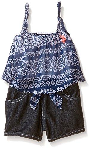 U.S. Polo Assn. Little Girls' Aztec Printed Chiffon Top and Denim Short Romper, Navy/White, 5/6 (Aztec Printed Shorts)