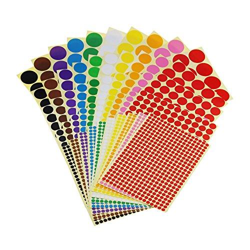 Generic Sticky Farbe Codierung Etiketten Abnehmbarer Kreis Klein Dot Aufkleber für Klassenzimmer Organisation Dekorationen Yard Sale Kalender Planer, Verschiedene Größen, 10Farben, Gesamt 50Blatt