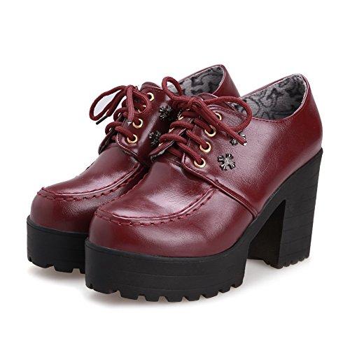 VogueZone009 Femme Couleur Unie à Talon Haut Lacet Rond Chaussures Légeres Rouge Vineux