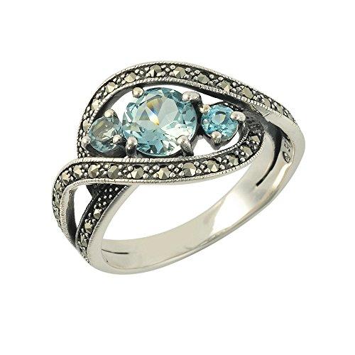 Esse Marcasite Ring, 925er-Sterlingsilber, Topas und Markasit, ellipsenförmig, P