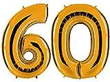 PartyMarty Ballon Zahl 60 in Gold - XXL Riesenzahl 100cm - zum 60. Geburtstag - Party Geschenk Dekoration Folienballon Luftballon Happy Birthday GMBH®