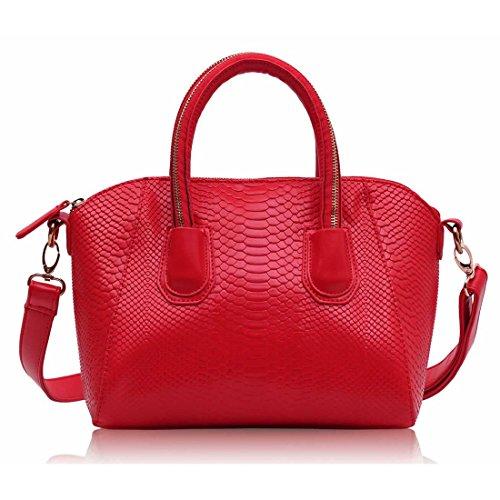Zarla da donna a tracolla, in finta pelle, da donna, effetto pelle di serpente, colore: nero, da Rosso (rosso)
