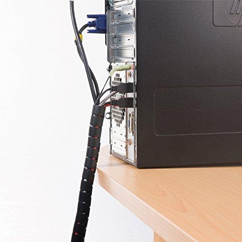 D-Line CZ202.5B flexibler Kabelkanal für den Schreibtisch   Optimale Kabelordnung mit dem Kabelschutzschlauch   Länge 2,5 m, Durchmesser 20 mm - Schwarz