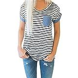 Yanhoo Mode Frauen Kurzarm Gestreifte Denim Patchwork Bluse Tops Kleidung Damen T-Shirt mit Taschen Damenmode Blusenshirt Sommerbluse (L, Weiß)