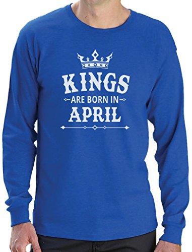 Geschenk Shirt für den Mann - Kings are born in April Langarm T-Shirt Blau