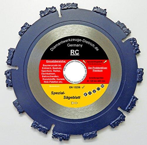 Reifen Art (RC_230 mm. Bohrung 22,23 mm. Spezial - Sägeblatt für Winkelschleifer und Trennschleifer. Ausgrabungen von Baumwurzeln, und schneiden von Hölzer aller Art. Gummi, Reifen, Kunststoffe, Dachpappe usw.)