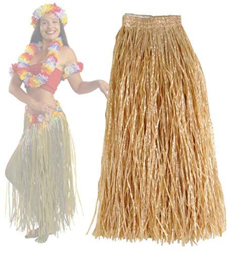 Hularock, Natur, mit Gummizug, Länge ca. 54 cm, Mottoparty, Karneval, Strand, Beachparty, Sommerlaune, Sommerparty, Summerfeeling, Hawairock, Bastrock (Tahiti Kostüm)