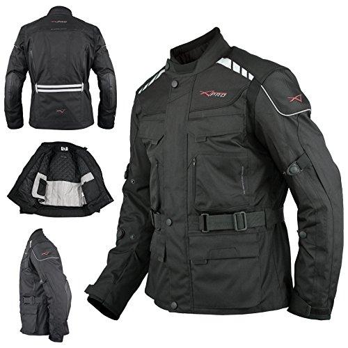 A-Pro, Giacca da Moto, impermeabile, termica, Nera, XL