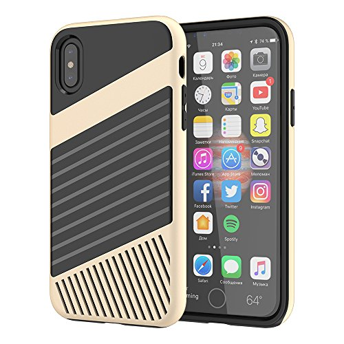 Cover iPhone X, FugouSell Elegant Slim PC + TPU Ibrido Combo Double Full Body Protection Custodia [Antiurto Antiscivolo] [Original Design] 2 in 1 Liscio Bumper Case Telefono Shell (Blu) doro