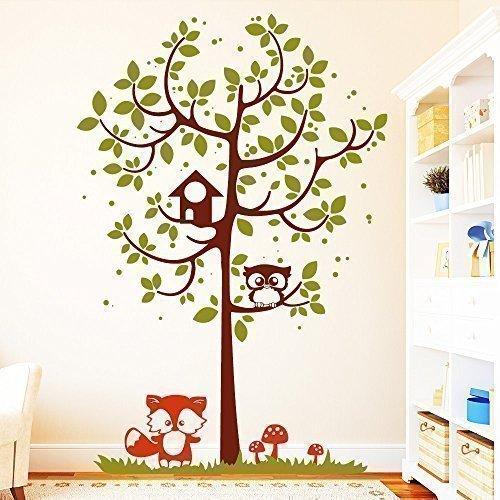 """Wandtattoo Loft """"Baum mit Eule und Fuchs (3farbig) - Wandtattoo / 49 Farben / 4 Größen / brillantblau / 180 x 121 cm"""