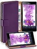 MoEx® Étui Folio à Support vidéo Compatible Sony Xperia Z | Fente pour Argent/Cartes, Lilas