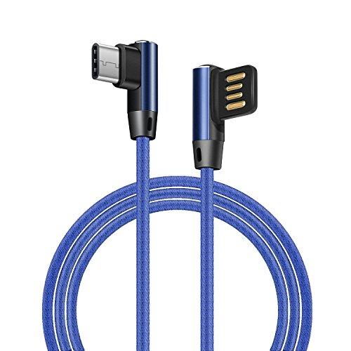 Ehpow USB C Kabel, Android Fast Charger Kabel, Doppelseitiges USB und doppelseitiges 90 Grad Interface USB-C Kabel für Huawei Honor Samsung Galaxy Nexus LG Lumia Schwarz und Blau (1M)
