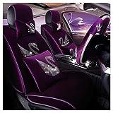 XUDONG Auto Ledersitzbezug, Universal Warm Velvet Winter Kissen Männer Und Frauen Autositzbezug für 5-Sitzer 10-teiliges Set (Farbe: LILA),Lila