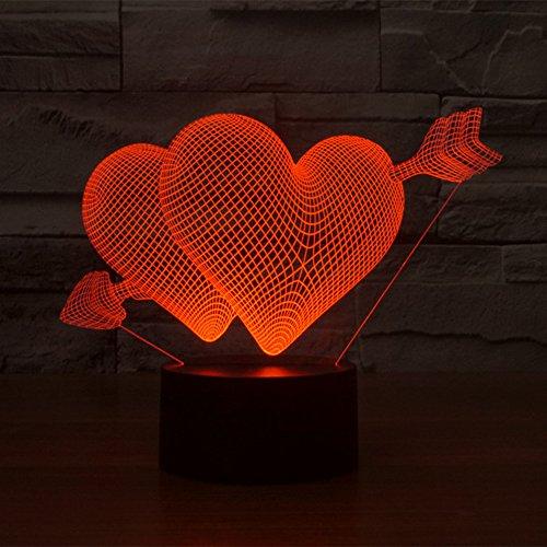 erz zu Herz 7 Farben erstaunliche optische Täuschung 3D-Glühen-LED-Lampe Art Skulptur Ferneinstellung Lichter produziert einzigartige Lichteffekte und 3D-Visualisierung für Home Decor-kreative Geschenk (Herzen Glühen)