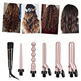 5 in 1 Curling Iron, CkeyiN Ceramic Hair Curling Wand Iron Set Bead