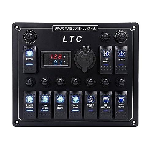 LTC® 12V-24V étanche 10vitesses Interrupteur Panneau avec sécurité LED indicateurs,