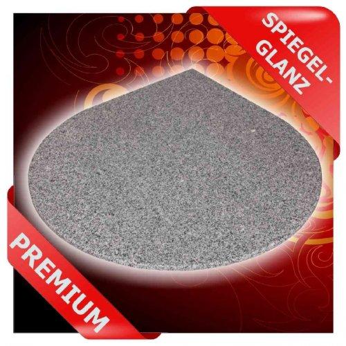 Granit Eck-Funkenschutzplatte Tropfenform - Unterlage, Bodenplatte f. Kaminofen Pelletofen, F12b - 110 x 110 cm