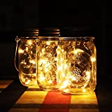 2 Pack Mason Jar Light (Mason Jar & Handle Included) Solar Glass Jars Garden Light Outdoor Hanging Lights / Lantern 10 LED String Fairy Lights for Outdoor Use in Patio, Pathway, Garden, Indoor Use in Party, Bedroom Decor,Warm White