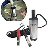 Caxmtu Pompe à huile DC 12V en acier inoxydable submersible de carburant d'eau 12L/min 38mm pour moto voiture auto