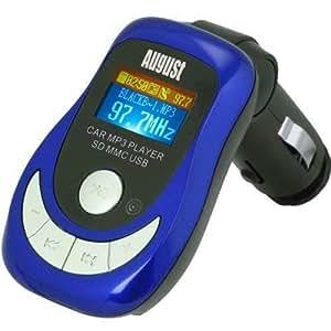 August CR150 Lecteur MP3 pour Voiture et Transmetteur FM avec Lecteur de Carte/USB/Télécommande (Bleu)