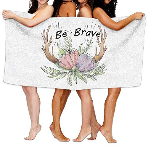 sdfgsdhffer Cute Boho Horns with Purple and Pink Flowers and Green Leaves Bath Towel Adult Microfiber Towel 31 X 51 Inch Bath Sheet